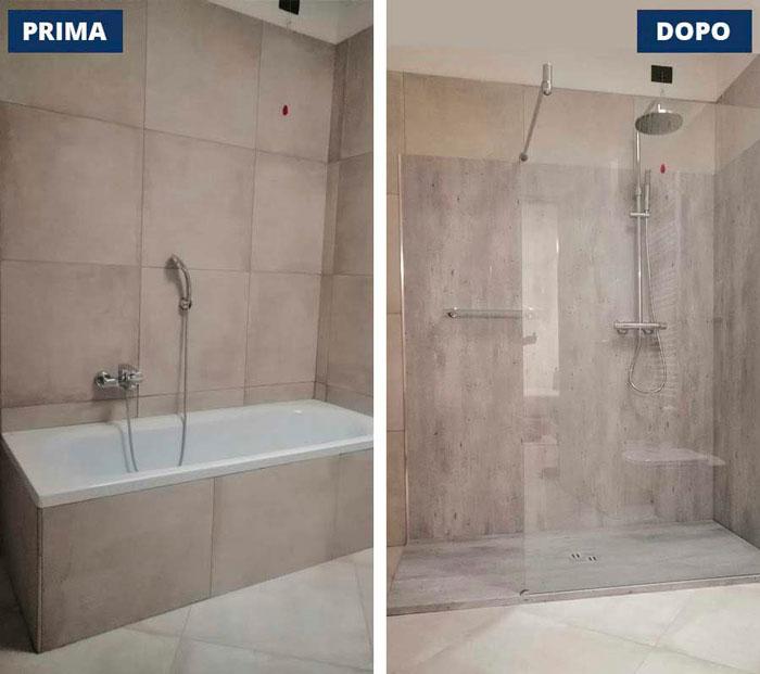 Trasformazione da vasca a doccia a Concesio (BS)