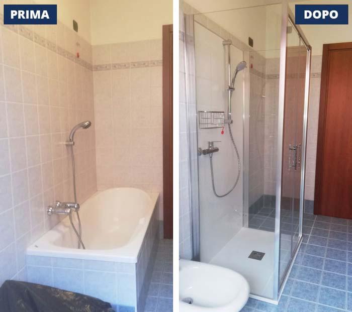 Trasformazione da vasca a doccia a Cremona